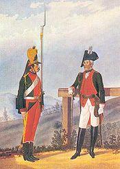 Рядовой и обер-офицер пехотного полка в форме 1786—1796 годов