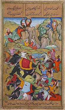 Тимур побеждает султана ДелиНасир ад-Дина Махмуда, зимой 1397—1398, живопись датированная 1595—1600 годами.