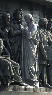 Н.В.Гоголь на Памятнике «1000-летие России» вВеликом Новгороде