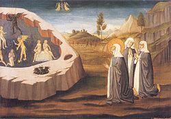 Маэстро ди Сан Миниато. Святая Екатерина спасает душу сестры Пальмерины от демонов, ок. 1470