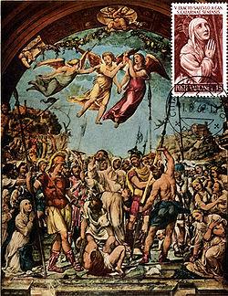 Казнь Никколо ди Тульдо Фреска работы Содома (репродукция на почтовой открытке с маркой Ватикана, где изображён фрагмент той же фрески)