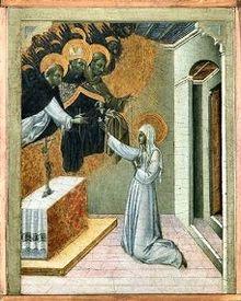 Джованни ди Паоло. Святая Екатерина Сиенская, получающая от Святого Доминика монашеское облачение