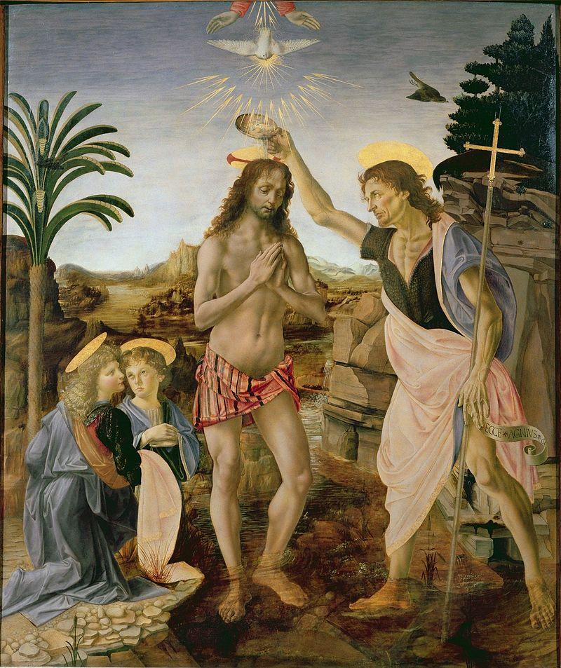 Картина Верроккьо «Крещение Христа». Ангел слева (левый нижний угол)— творение кисти Леонардо