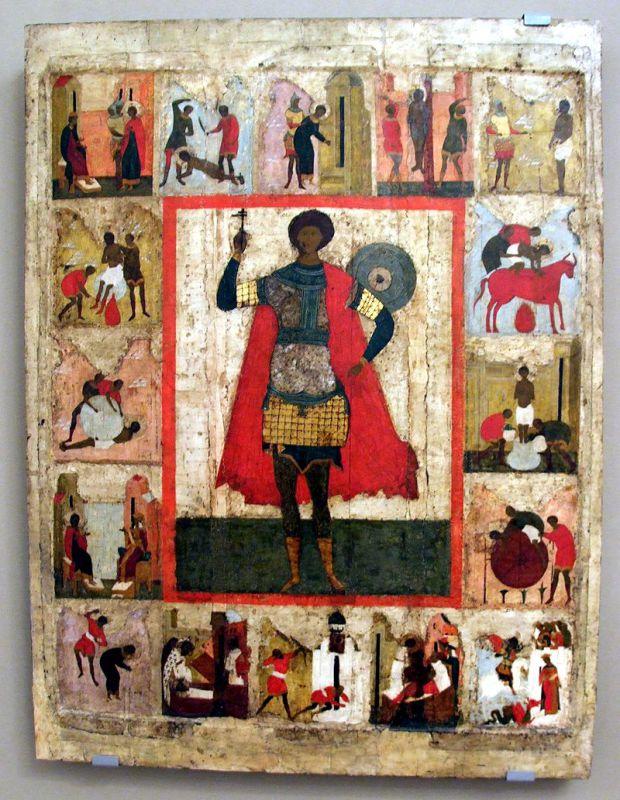 Житийная икона св. Георгия. В клеймах можно разглядеть различные пытки, в том числе и те, которых нет в стандартном списке— например, как его жгут в медном раскалённом докрасна быке