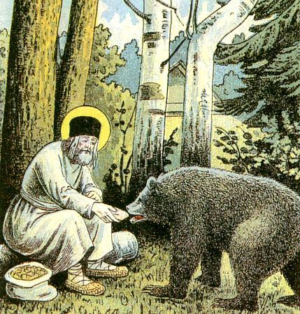 Серафим кормит медведя. Фрагмент литографии Путь в Саров, 1903