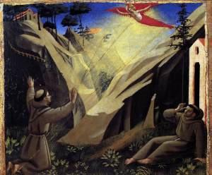 Святой Франциск, получающий стигматы  Ок. 1440. Темпера, дерево. 28 x 33 см. Пинакотека, Ватикан