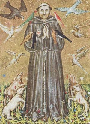 Франциск Ассизский. Миниатюра XIV века. Национальная библиотека (Рим).