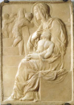 Мадонна у лестницы. ок. 1490—1491, мрамор, Каза Буонарроти, Флоренция
