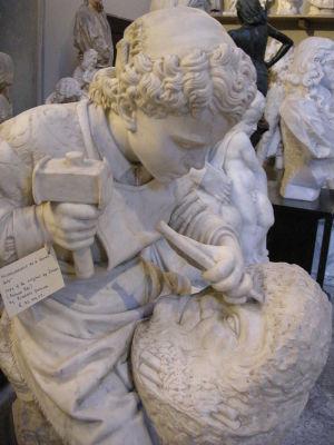 Чезаре Дзоччи. «Юный Микеланджело высекает Голову фавна» (утрачена)