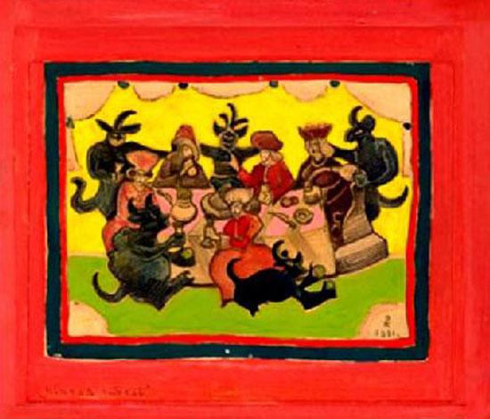 Н.К. Рерих. Пьяная гибель (Эскиз плаката по борьбе с пьянством) 1931