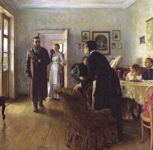 Илья Репин. Не ждали. 1884-1888.  Третьяковская Галерея, Москва, Россия.