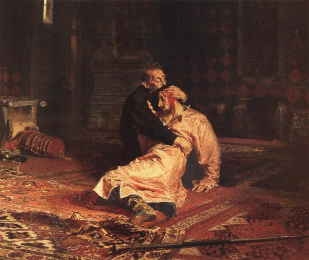 Илья Репин.  Иван Грозный и сын его Иван  16 ноября 1581.  1885. Третьяковская Галерея, Москва, Россия.
