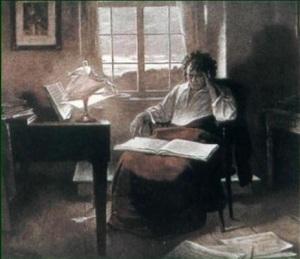 Р. Айчедт. Бетховен сочиняет музыку в кабинете на рассвете
