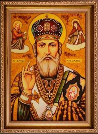 Святитель Николай Чудотворец Мирликийский. Икона из янтаря. XXI в.