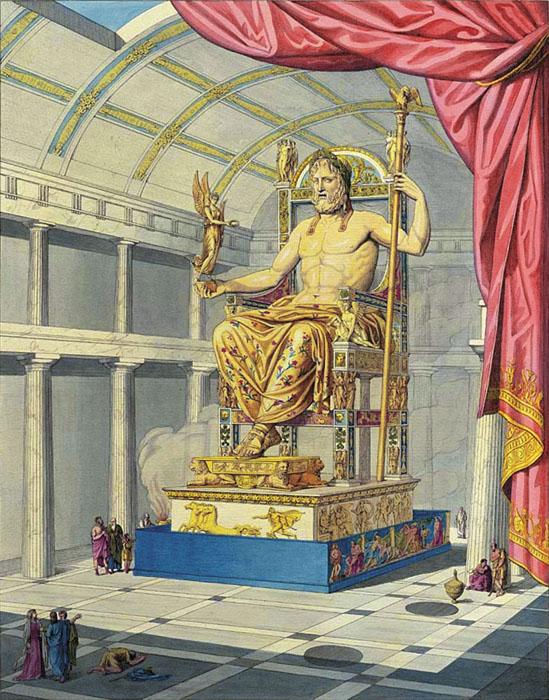 Зевс в храме олимпии. Фронтиспис в книге А.-К. Катрмер-де-Кенси «Юпитер олимпиец» (1815)