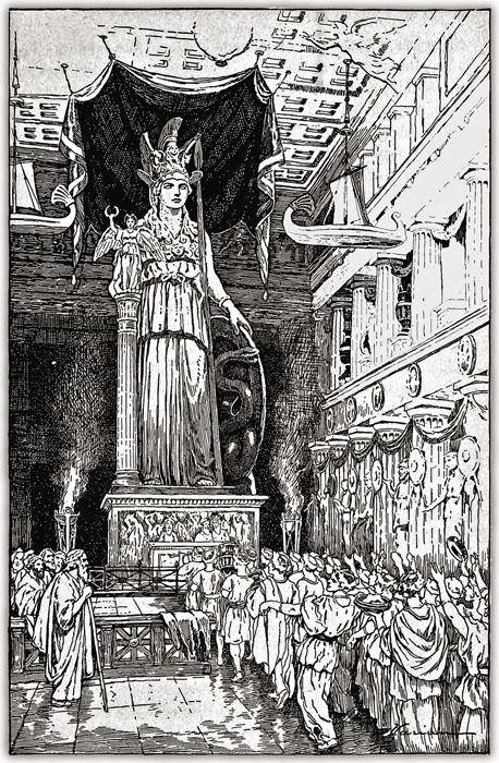 Торжественное шествие в Парфеноне в честь богини Афины. Иллюстрация в книге А.М. Вулфсона «Античная цивилизация» (1916)