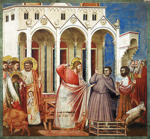 Джотто. Жизнь Христа. Изгнание торгующих из храма. Фреска. 1304 – 1306