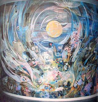 """Фрагмент панно """"Земля, флюиды жизни и расцвета мирам Вселенной посылай"""". Холл штаб-квартиры ЮНЕСКО. Париж. 55 кв.м. 1987 год."""