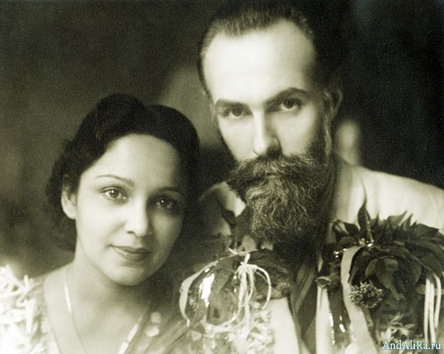Девика Рани и Святослав Рёрих в день свадьбы