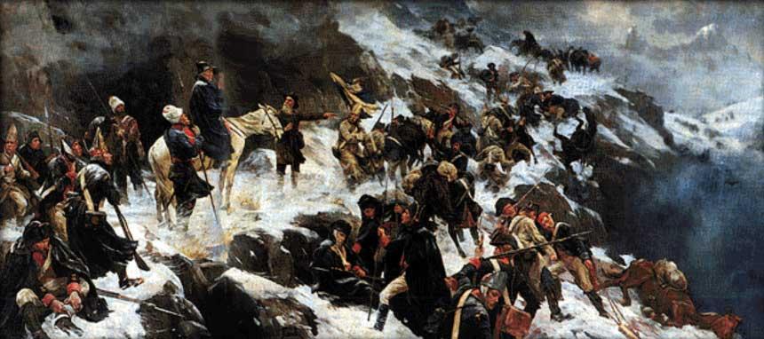 «Переход войск Суворова через Альпы в 1799 году», А. Попов, 1904 г.