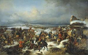 «Взятие крепости Кольберг в ходе Семилетней войны». А. Коцебу. 1852 год. На картине изображено взятие крепости русскими войсками в 1761 году.