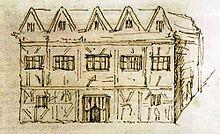 Нью-Плэйс, дом Шекспира, набросок сделан в 1737 годуДжорджем Вертью