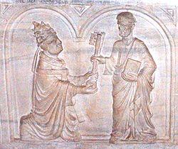 Святой Пётр вручает ключи папе Урбану. Надгробие саркофага Урбана