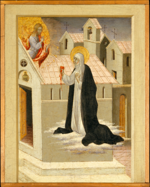 Джованни ди Паоло. Екатерина Сиенская и Христос меняются сердцами, 1460.