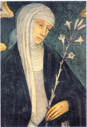 Андреа Ванни. Единственное возможное прижизненное изображение Екатерины Сиенской.Базилика св. Доменика.
