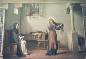 Св. Екатерина стрижёт свои волосы, чтобы убедить свою (сидящую) мать,что не хочет быть земной невестой
