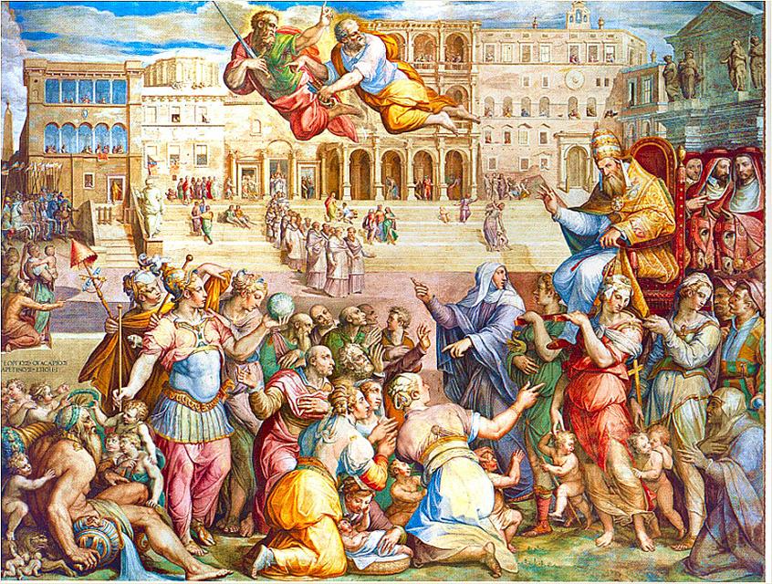 Вазари. Екатерина Сиенская сопровождает папу Григория XI в Рим