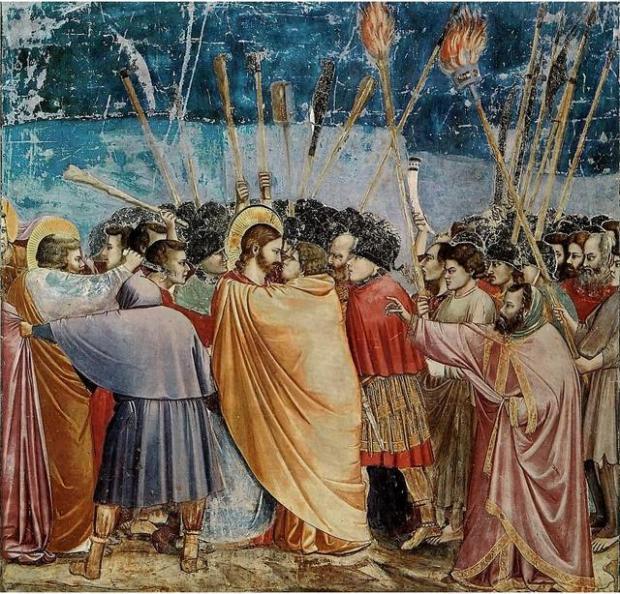 Джотто ди Бондоне. Поцелуй Иуды. 1304–1306
