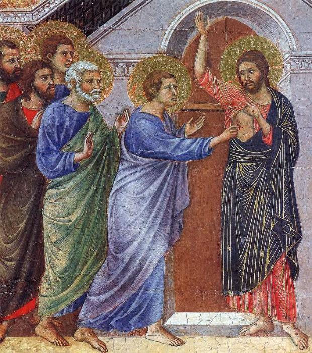 Фома неверующий. Дуччо ди Буонинсенья Маэста, алтарь сиенского кафедрального собора, оборотная сторона, Неверие Фомы 1311 Готика