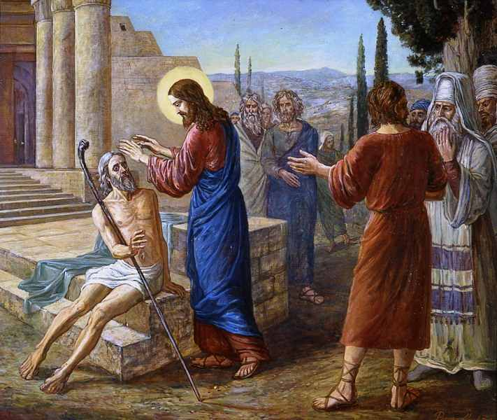Иисус Христос исцелил прокаженного по его вере