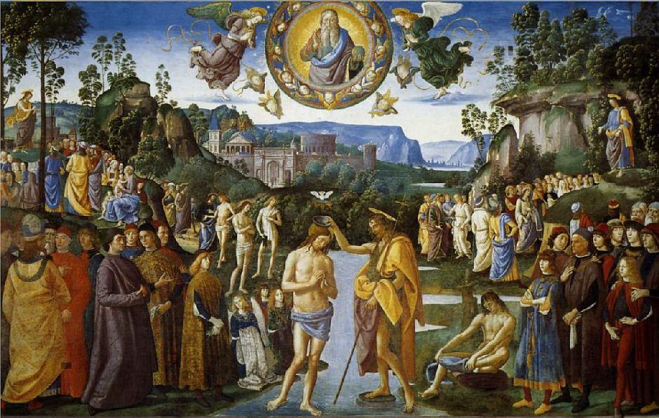 Крещение Христа. Перуджино и Пинтуриккьо 1450-1523. Сикстинская капелла. Ватикан.