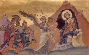 Поклонение волхвов. Иллюстрация в Месяцеслове Василия Второго. 11 век.
