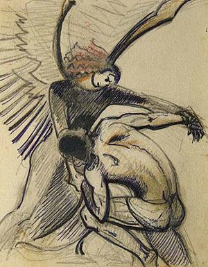 С.Н.Рерих. Иаков с Ангелом. 1970-е. Международный Центр-Музей им.Н.К. Рериха, Москва, Россия