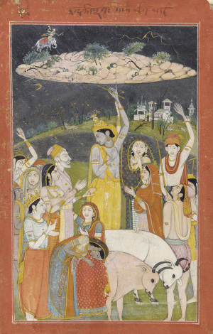 Кришна поднимает холмГовардхана