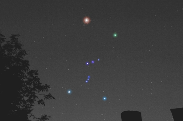 Созвездие Ориона на ночном небе.