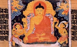 Медитирующий Будда в окружении демонов Мары. Санскритский манускрипт. Наланда, Бихар, Индия. Период Палов