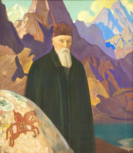 С.Н.Рерих. Портрет Н.К.Рериха около камня с Чинтамани. 1934