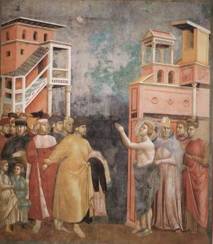 Франциск Ассизский отказывается от имущества. Джотто (фреска в церкви Сан-Франческо в Ассизи)