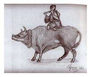 С.Н. Рерих. Музицирующий на буйволе. 1916