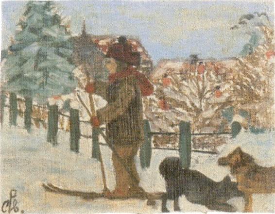 С.Н. Рерих. Лыжная прогулка с собаками. 1915–1918-е