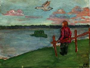 С.Н. Рерих.Детский рисунок [Ефим на берегу озера Ключино]. 17 января 1916 г.