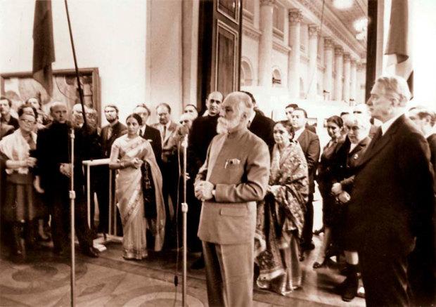 Выступление Святослава Николаевича Рериха на открытии персональной выставки в Государственном Эрмитаже. Ленинград, январь 1975
