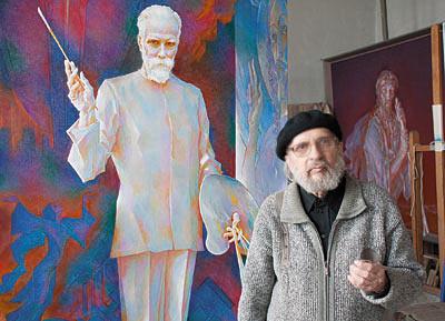 Л.Р. Цесюлевич в мастерской у своей картины