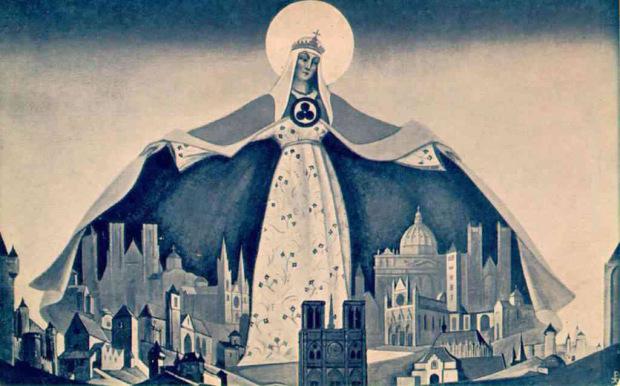 Н.К .Рерих. Мадонна Защитница (Святая Покровительница), 1933 г.