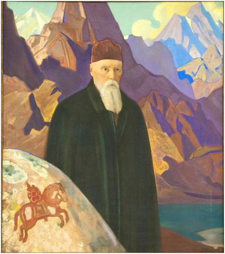 С. Н. Рерих. Портрет Н. К. Рериха на фоне гор. 1934