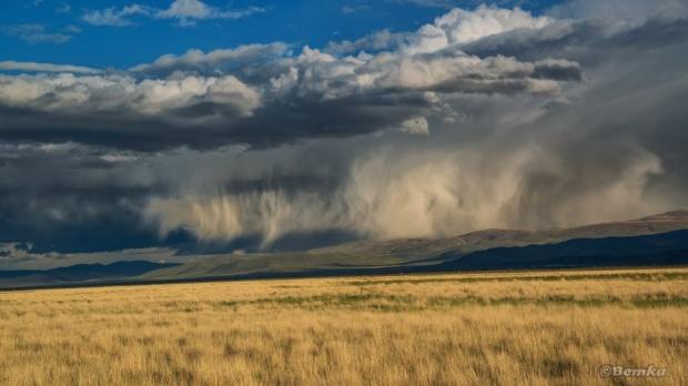 © Светлана Шупенко Необычное и впечатляющее явление - Вирга, дождь, который испаряется, не достигая земли, над Чуйской степью